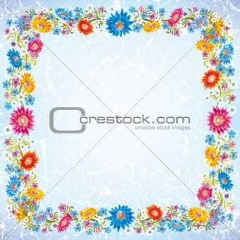 abstract grunge ornament with flowers