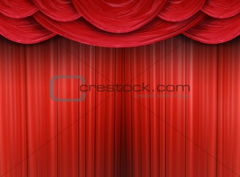 Closed curtain of a stage