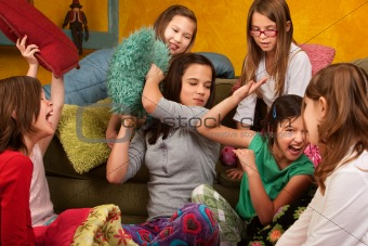 Sleepover Pillow Fight