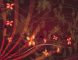 Abstract red background with flowers
