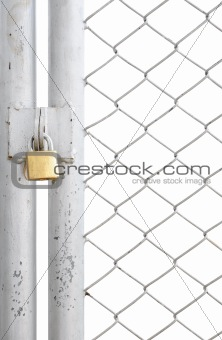 chain link fence and metal door with lock isolated on white background