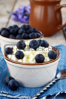 Fresh cottage cheese  with blueberries