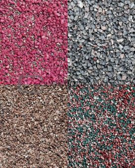 a set of the four different decorative crushed stones