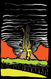 Volcano Color Woodcut