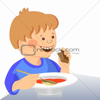 vector baby boy eats with a spoon from a bowl