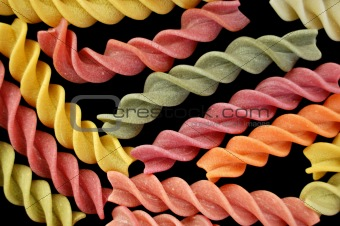 colorful fusilli italian pasta