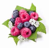 Ripe raspberry and blueberries with green leaf on white background
