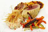 Main Dish: Tuna with Pepper Gravy, Rice and Vegetables