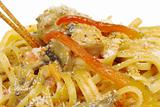 Fettuccine with Chicken, Mushrooms, Pepper