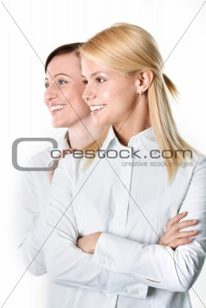 Two cheerful businesswomen 