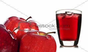 Fresh apples and apple juice