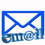 email text and envelope in blue