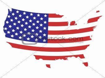 Flag designed United States map