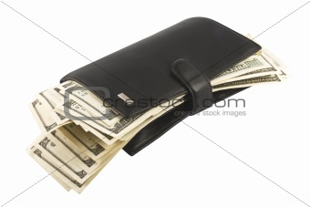 Leather wallet with money.