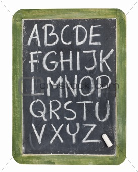 alphabet in chalk on blackboard