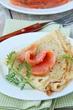 salted salmon red fish with pancakes