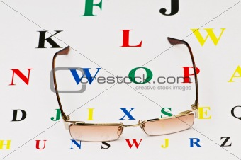 Opical glasses over the eye test table