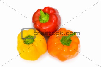 Three bell peppers isolated on the white