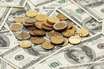 Business concept - american dollars and many us dollars