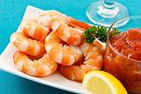 Fresh Shrimp on Aqua Background