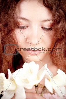 beautiful woman with narcissus