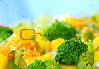 Broccoli on Fresh Salad