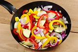 Raw Ratatouille Ingredients in Frying Pan