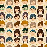 seamless young people face pattern