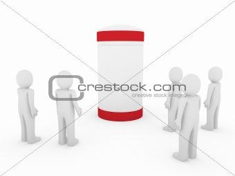 3d human men red banner