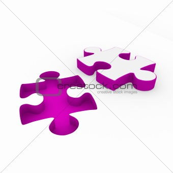 3d puzzle purple white