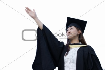 Aspiring asian graduate raise right arm