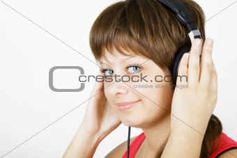 girl teenager in the headphones