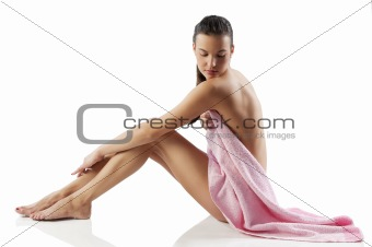 the nude model with pink towel
