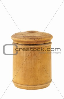 Old antique round food box isolated on white