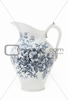 Antique hand painted water pitcher isolated on white background