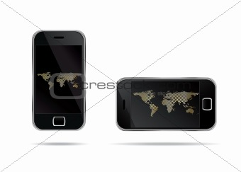 two mobile phones with world map