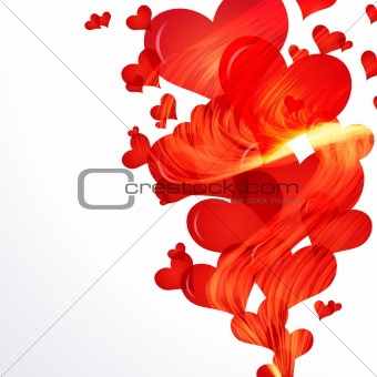 Flaming hearts fly up,  side vector border.
