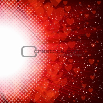 Abstract heart and stars on a red background