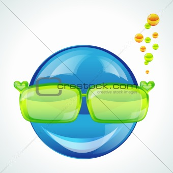 Avatar in green sunglasses, vector image