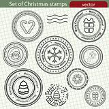Set of Christmas stamps, vector image.