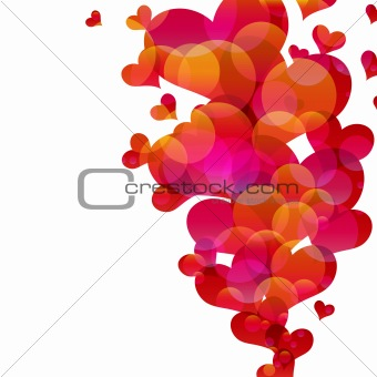 Abstract fly hearts. Vector image.