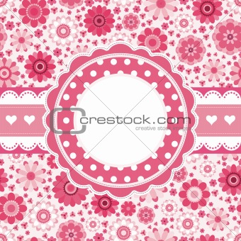 Pink retro card with floral pattern. Seamless background.
