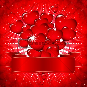 Beautiful background with glowing hearts and a festive ribbon.
