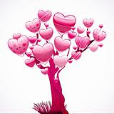Beautiful tree with a crown of shiny hearts. Vector illustration