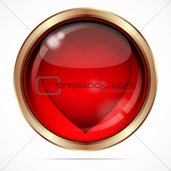 Bright button with a red heart.