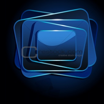 Abstract speech banner on dark background, vector design.
