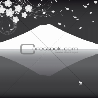 Abstract background with a mountain and the branches of a flower