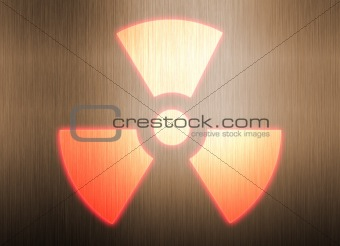 radioactive symbol on metal background
