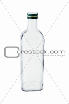 Tall empty glass bottle