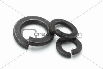 Three used metal washers